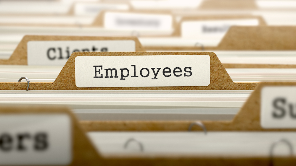 Employees Concept. Word on Folder Register of Card Index. Selective Focus.